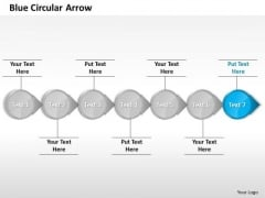 Ppt Continuous Circular Arrows Straight Line 7 Power Point Stage Blue PowerPoint Templates