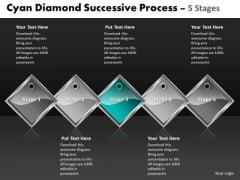 Ppt Cyan Diamond Constant Process 5 Phase Diagram Business PowerPoint Templates