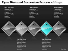 Ppt Cyan Diamond Succeeding Forging Process PowerPoint Slides 5 Stages Business Templates