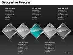 Ppt Cyan Diamond Successive Course 5 State Diagram PowerPoint Templates