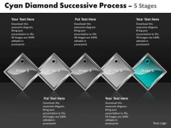 Ppt Cyan Diamond Successive Forging Process PowerPoint Slides 5 Stages Business Templates
