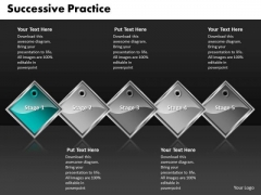 Ppt Cyan Diamond Successive Practice 5 State PowerPoint Project Diagram Templates