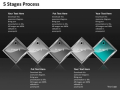 Ppt Cyan Diamond Successive Process 5 Stages PowerPoint Templates