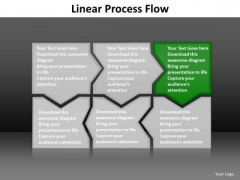 Ppt Dark Green Piece Connected In Linear Process Flow PowerPoint Theme Templates