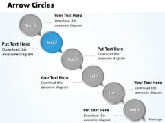 Ppt Descending Circles Lotus Connections With Arrow 6 Steps PowerPoint Templates