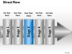 Ppt Even Flow 5 Stages PowerPoint Templates