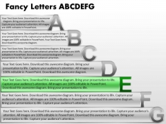 Ppt Fancy Letters Abcdefg With Textboxes Business Plan PowerPoint Growth Templates