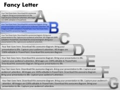 Ppt Fancy Letters Abcdefg With Textboxes Project Management PowerPoint Education Templates