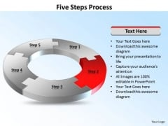Ppt Five Steps Working With Slide Numbers Circle Process PowerPoint Templates