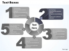 Ppt Five Text Boxes PowerPoint Template Connected With Circle Process Templates