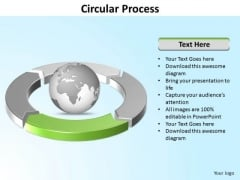 Ppt Four Segments Around Spinning Globe PowerPoint Template Circle Green Templates