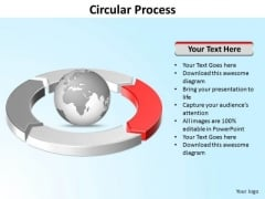 Ppt Four Segments Around Spinning Globe PowerPoint Template Circle Red Templates
