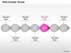 Ppt Homogeneous Pink Circular Arrow Straight Line 7 Power Point Stage PowerPoint Templates