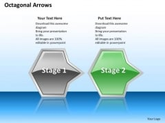 Ppt Horizontal Abstraction Of Octagonal Arrows Stage 2 Green PowerPoint Templates