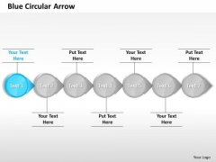 Ppt Horizontal Circular Arrows In Straight Line 7 Stages Blue PowerPoint Templates