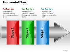 Ppt Horizontal Flow 3 Stages1 PowerPoint Templates