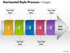 Ppt Horizontal Flow Of 5 Stage Free Fishbone Diagram PowerPoint Template 1 Design