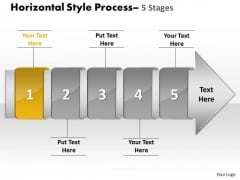 Ppt Horizontal Flow Of 5 Stage Free Fishbone Diagram PowerPoint Template 2 Design
