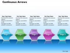 Ppt Horizontal Flow Of Octadic Shapes Arrows PowerPoint 5 State Diagram Templates