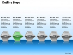 Ppt Horizontal Series Of Octadic Arrows Using 6 State Diagram Green PowerPoint Templates