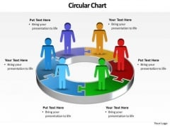 Ppt Illustration Of 3d Pie Org Chart PowerPoint 2010 With Standing Busines Men Templates