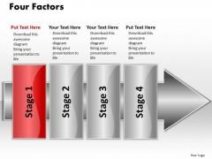 Ppt Linear Flow 4 Factors2 PowerPoint Templates