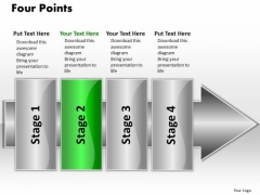 Ppt Linear Flow 4 Points2 PowerPoint Templates