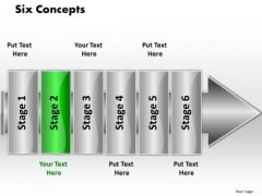 Ppt Linear Flow 6 Concepts PowerPoint Templates