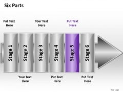 Ppt Linear Flow 6 Parts PowerPoint Templates