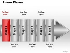 Ppt Linear Flow 6 Phases PowerPoint Templates