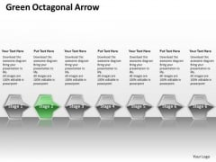 Ppt Linear Flow PowerPoint Theme Of Green Octagonal Arrow 7 Stage Templates