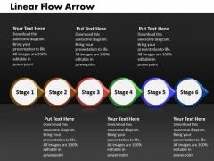 Ppt Linear Flow Process Charts Arrow-6 Power Point Stage PowerPoint Templates