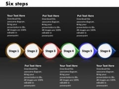 Ppt Linear Implementation Of Six Steps Involved Process PowerPoint Templates