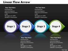 Ppt Linear Process Flow PowerPoint Template Arrow-4 Stages Templates
