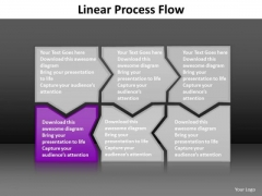 Ppt Purple Piece Live Connections In Linear Process Work Flow Chart PowerPoint Templates