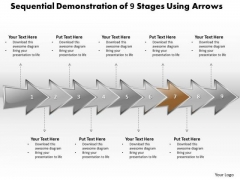 Ppt Sequential Report Of 9 Stages Using Arrows Layouts PowerPoint 2003 Templates