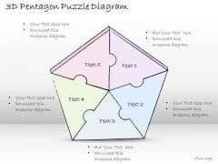 Ppt Slide 3d Pentagon Puzzle Diagram Marketing Plan