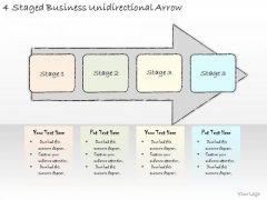 Ppt Slide 4 Staged Business Unidirectional Arrow Marketing Plan