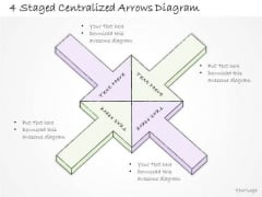 Ppt Slide 4 Staged Centralized Arrows Diagram Marketing Plan