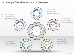 Ppt Slide 5 Staged Business Gear Diagram Diagrams