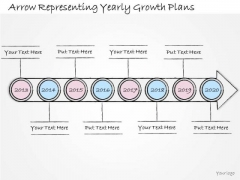 Ppt Slide Arrow Representing Yearly Growth Plans Sales