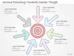 Ppt Slide Arrows Pointing Towards Center Target Business Diagrams