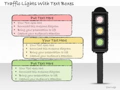 Ppt Slide Traffic Lights With Text Boxes Sales Plan