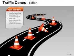 Ppt Slides Obstacles And Traffic Cones On Road Ahead PowerPoint Templates