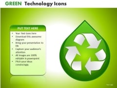 Ppt Slides Recycle Symbol On Dew Drop PowerPoint Templates