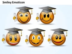 Ppt Smiley Emoticon With Graduation Degree And Cap Process PowerPoint Templates