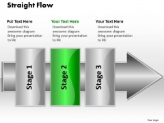 Ppt Straight Flow 3 Stages1 PowerPoint Templates