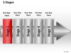 Ppt Straight Flow 5 Power Point Stage PowerPoint Templates