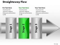 Ppt Straightaway Flow 3 Stages1 PowerPoint Templates