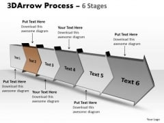 Ppt Template 3d Illustration Of Six Step Arrow Process Time Management PowerPoint Graphic